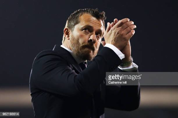 Fulham Manager Slavisa Jokanovic celebrates at the end of the Sky Bet Championship match between Fulham and Sunderland at Craven Cottage on April 27...