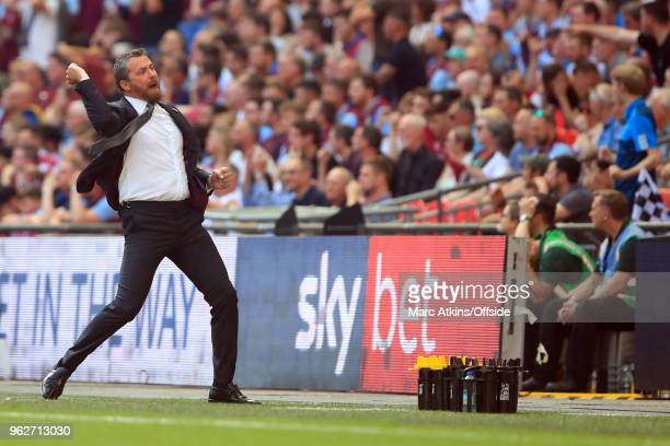 Fulham Manager Slavisa Jokanovic celebrates the opening goal during the Sky Bet Championship Play Off Final between Aston Villa and Fulham at Wembley...