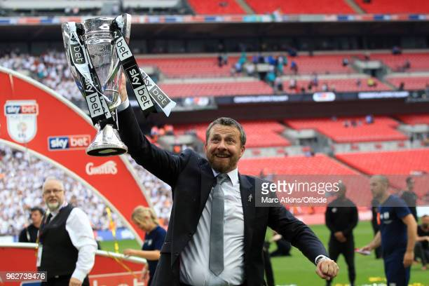 Fulham Manager Slavisa Jokanovic celebrates with the trophy during the Sky Bet Championship Play Off Final between Aston Villa and Fulham at Wembley...