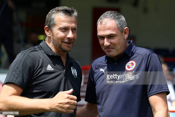 Fulham Manager Slavisa Jokanovic chats to Reading Manager Paul Clement ahead of the preseason friendly between Reading and Fulham at the EBB Stadium...