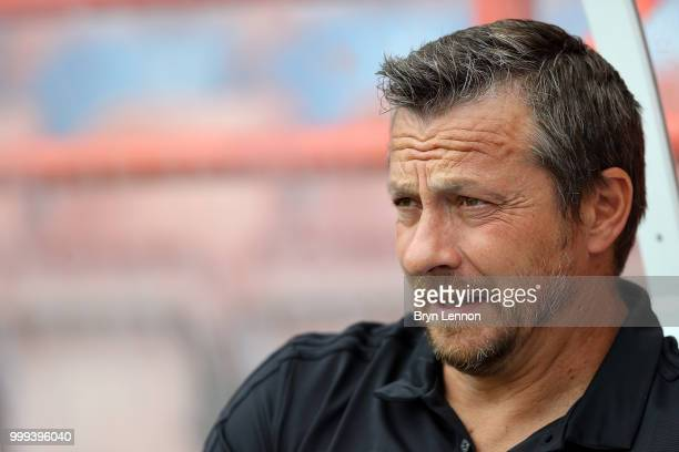 Fulham Manager Slavisa Jokanovic looks on prior to the preseason friendly between Reading and Fulham at the EBB Stadium on July 14 2018 in Aldershot...