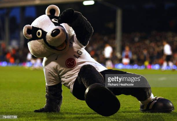 Fulham mascot Billy the Badger 'breakdances' at the half time interval during the Barclays Premier League match between Fulham and Aston Villa at...