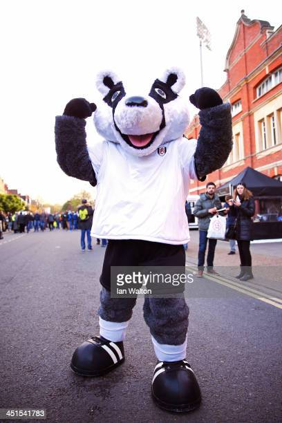 Fulham mascot Billy the Badger greets fans prior to kickoff during the Barclays Premier League match between Fulham and Swansea City at Craven...