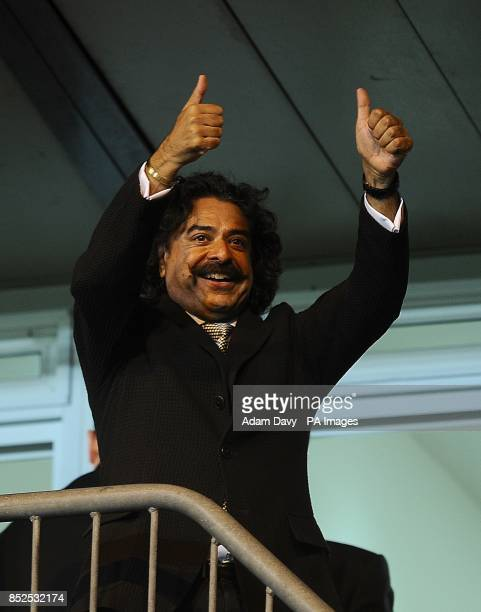 Fulham owner Shahid Khan celebrates after the final whistle