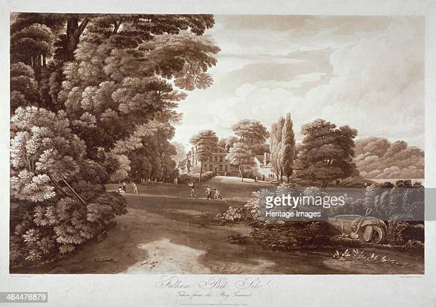 Fulham Park School London 1813 View as seen from the grounds with boys playing cricket