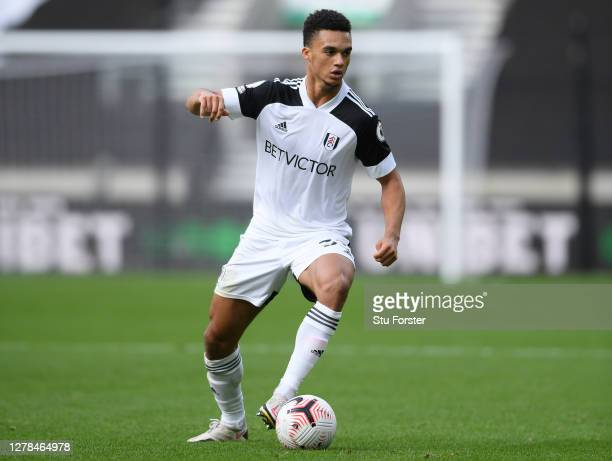 Fulham player Antonee Robinson in action during the Premier League match between Wolverhampton Wanderers and Fulham at Molineux on October 04 2020 in...