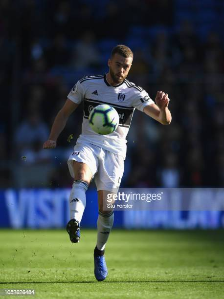 Fulham player Calum Chambers in action during the Premier League match between Cardiff City and Fulham FC at Cardiff City Stadium on October 20 2018...