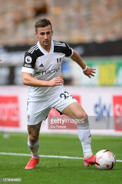 Fulham player Joe Bryan in action during the Premier League match between Wolverhampton Wanderers and Fulham at Molineux on October 04 2020 in...