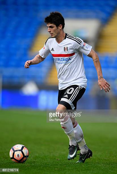 Fulham player Lucas Piazon in action during the Emirates FA Cup Third Round match between Cardiff City and Fulham at Cardiff City Stadium on January...