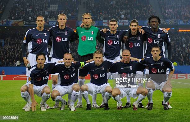 Fulham players line up prior to the UEFA Europa League final match between Atletico Madrid and Fulham at HSH Nordbank Arena on May 12 2010 in Hamburg...
