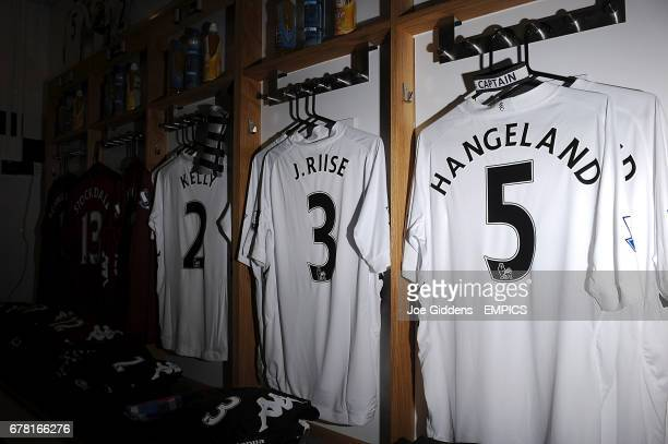 Fulham shirts for Brede Hangeland John Arne Riise and Stephen Kelly in the dressing room
