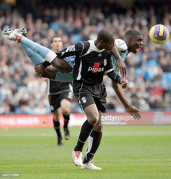 Fulham striker Luis Boa Morte and Micah Richards of Manchester City in action during the FA Premier League match between Manchester City and Fulham...