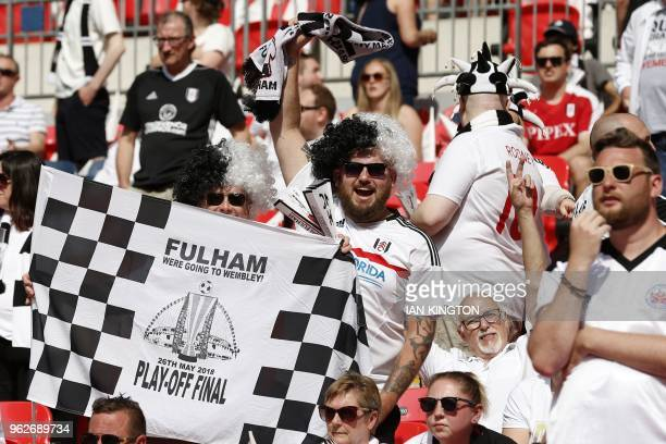 Fulham supporters await kick off in the English Championship playoff final football match between Aston Villa and Fulham at Wembley Stadium in London...