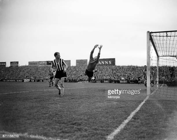 Fulham v Newcastle United League Division One Final score 43 to Fulham Mitchell goalie saves a shot from Mullery watched by one of the Newcastle...