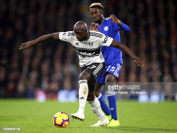Fulham's Aboubakar Kamara and Leicester City's Wilfred Ndidi battle for the ball during the Premier League match at Craven Cottage London