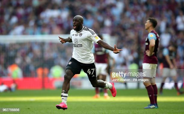 Fulham's Aboubakar Kamara celebrates promotion after the final whistle during the Sky Bet Championship Final at Wembley Stadium London