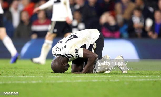 Fulham's Aboubakar Kamara celebrates scoring his side's first goal of the game during the Premier League match at Craven Cottage London