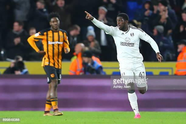 Fulham's Aboubakar Kamara celebrates scoring the equaliser during the Sky Bet Championship match between Hull City and Fulham at KCOM Stadium on...