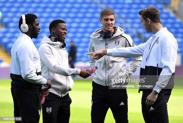 Fulham's Aboubakar Kamara Floyd Ayite Luciano Vietto before the Premier League match at the Cardiff City Stadium