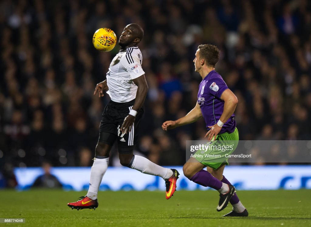 Fulham's Aboubakar Kamara in action during the Sky Bet Championship match between Fulham and Bristol City at Craven Cottage on October 31, 2017 in London, England.