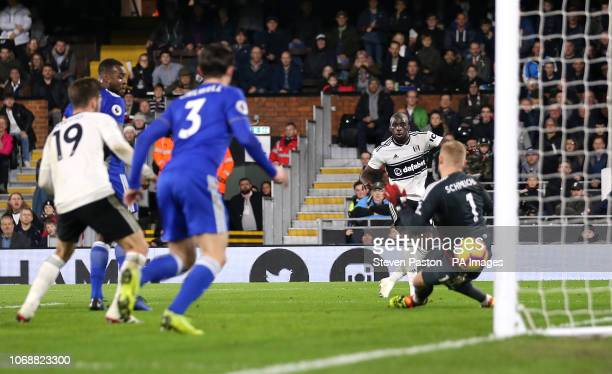 Fulham's Aboubakar Kamara scores his side's first goal of the game during the Premier League match at Craven Cottage London