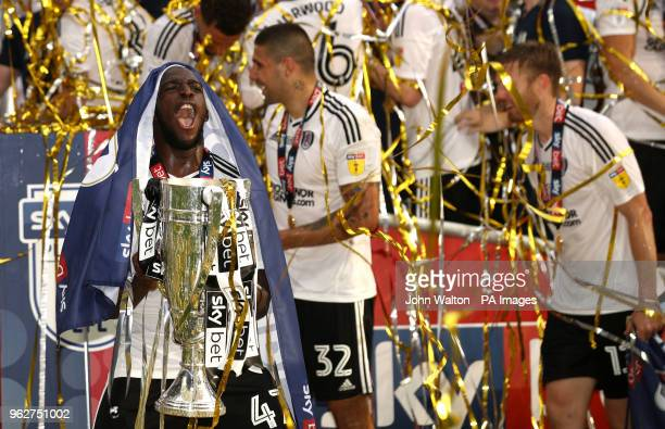 Fulham's Aboubakar Kamara with the trophy after the final whistle during the Sky Bet Championship Final at Wembley Stadium London
