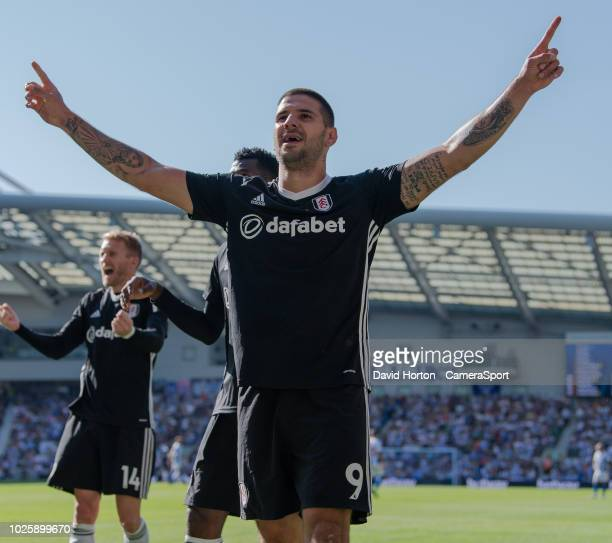 Fulham's Aleksandar Mitrovic celebrates scoring his side's 2nd goal during the Premier League match between Brighton Hove Albion and Fulham FC at...