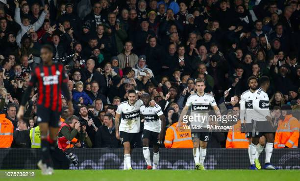 Fulham's Aleksandar Mitrovic celebrates scoring his side's first goal of the game with team mate Fulham's Aboubakar Kamara during the Premier League...