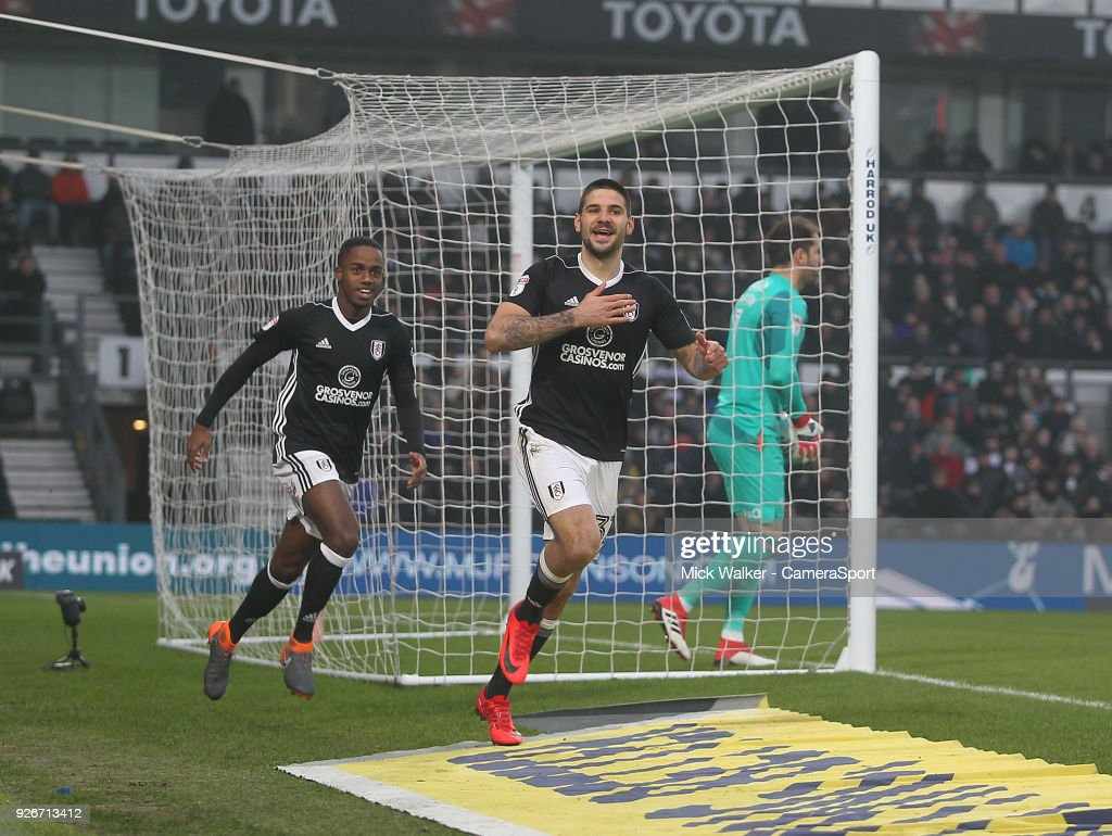 Fulham's Aleksandar Mitrovic celebrates scoring his sides first goal during the Sky Bet Championship match between Derby County and Fulham at iPro Stadium on March 3, 2018 in Derby, England.
