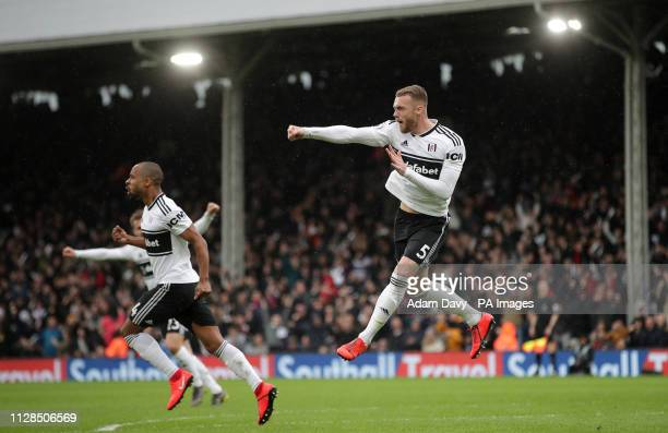 Fulham's Calum Chambers celebrates scoring his side's first goal of the game during the Premier League match at Craven Cottage London