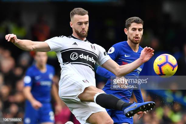 Fulham's English defender Calum Chambers clears the ball during the English Premier League football match between Chelsea and Fulham at Stamford...