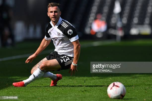 Fulham's English defender Joe Bryan chases the ball during the English Premier League football match between Fulham and Arsenal at Craven Cottage in...