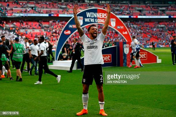 Fulham's English defender Ryan Fredericks celebrates on the pitch after the English Championship playoff final football match between Aston Villa and...
