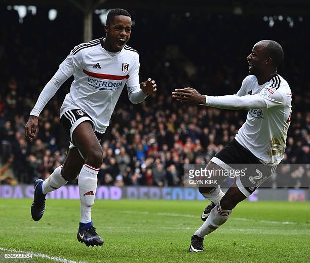 Fulham's English defender Ryan Sessegnon celebrates scoring their third goal during the English FA Cup fourth round football match between Fulham and...