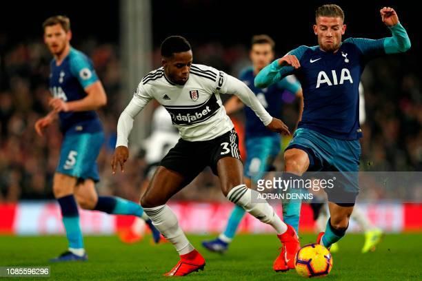 Fulham's English defender Ryan Sessegnon vies with Tottenham Hotspur's Belgian defender Toby Alderweireld during the English Premier League football...