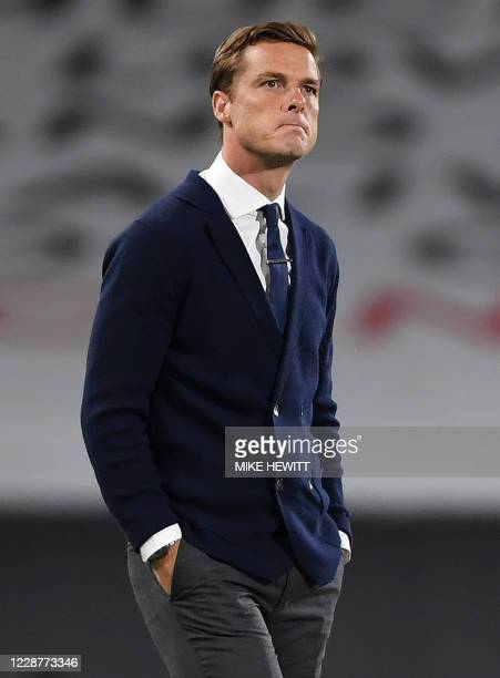 Fulham's English manager Scott Parker leaves the pitch after the English Premier League football match between Fulham and Aston Villa at Craven...