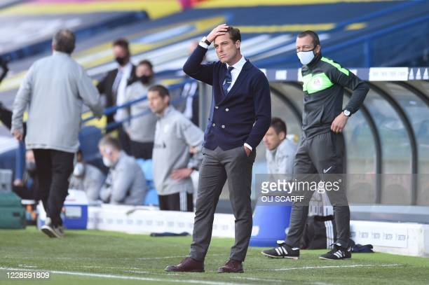 Fulham's English manager Scott Parker reacts after the end of the first half during the English Premier League football match between Leeds United...