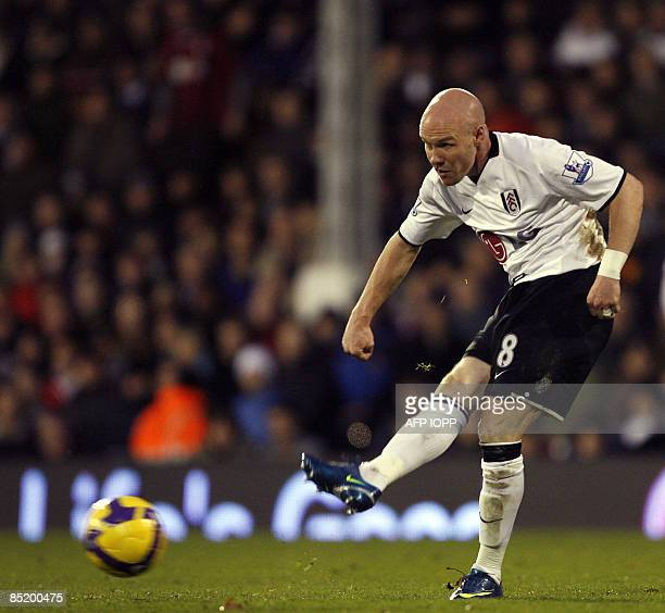 Fulham's English striker Andy Johnson in action during their Premier League match against Newcastle United at Craven Cottage London on November 9...