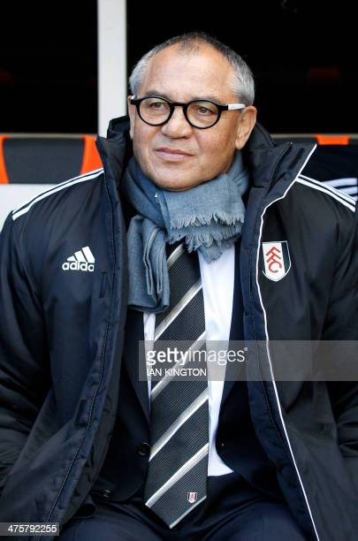 Fulham's German manager Felix Magath awaits kick off of the English Premier League football match between Fulham and Chelsea at Craven Cottage in...