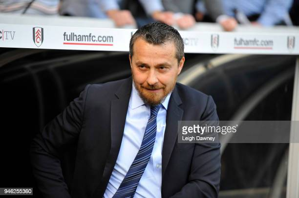 Fulham's Head Coach Slavisa Jokanovic looks on ahead of the Sky Bet Championship match between Fulham and Brentford at Craven Cottage on April 14...