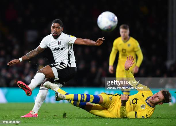 Fulham's Ivan Cavaleiro battles with Swansea City's Joe Rodon during the Sky Bet Championship match between Fulham and Swansea City at Craven Cottage...