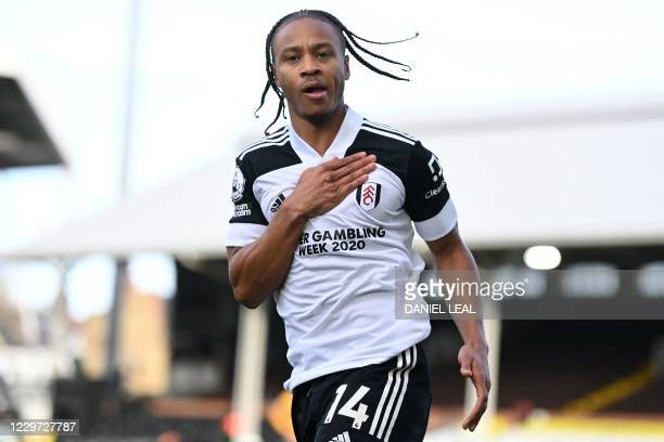 Fulham's Jamaican striker Bobby Decordova-Reid celebrates after scoring the equalising goal during the English Premier League football match between...