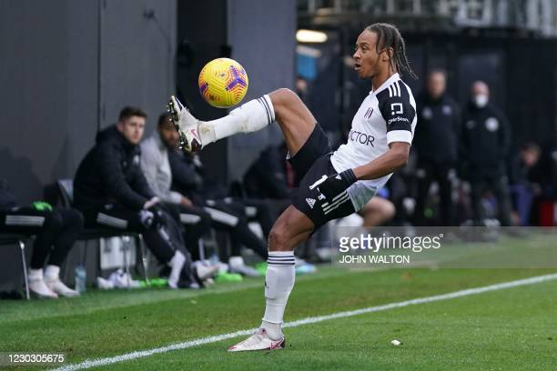 Fulham's Jamaican striker Bobby Decordova-Reid controls the ball during the English Premier League football match between Fulham and Southampton at...