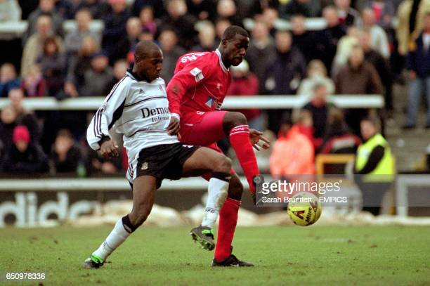 Fulham's Louis Boa Morte and Nottingham Forest's Chris Bart Williams battle for the ball