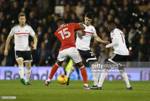 Fulham's Lucas Piazon and Nottingham Forest's Aaron Tshibola during the Sky Bet Championship match between Fulham and Nottingham Forest at Craven...