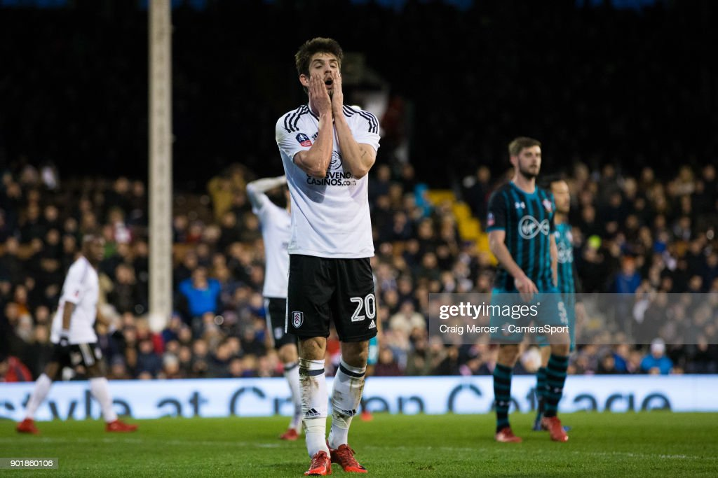 Fulham's Lucas Piazon reacts to a missed chance during the Emirates FA Cup Third Round match between Fulham and Southampton at Craven Cottage on January 6, 2018 in London, England.