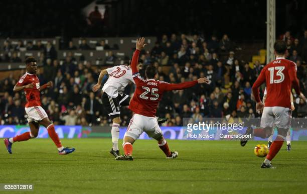 Fulham's Lucas Piazon scores his sides second goal during the Sky Bet Championship match between Fulham and Nottingham Forest at Craven Cottage on...