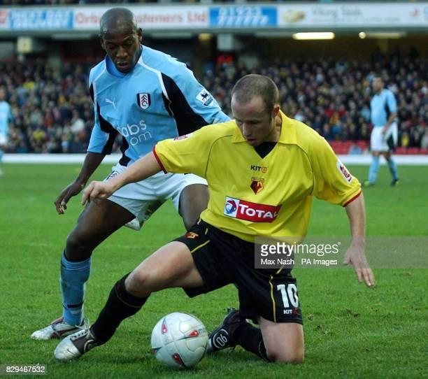 Fulham's Luis Boa Morte tussles with Watford's Paul Devlin