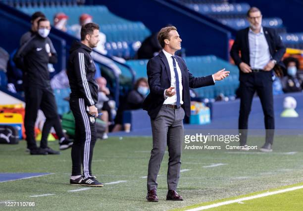 Fulham's manager Scott Parker gestures during the Sky Bet Championship match between West Bromwich Albion and Fulham at The Hawthorns on July 14,...