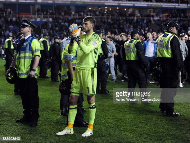 Fulham's Marcus Bettinelli salutes the fans after their 10 defeat in the Sky Bet Championship PlayOff Semi Final Second Leg match between Reading and...